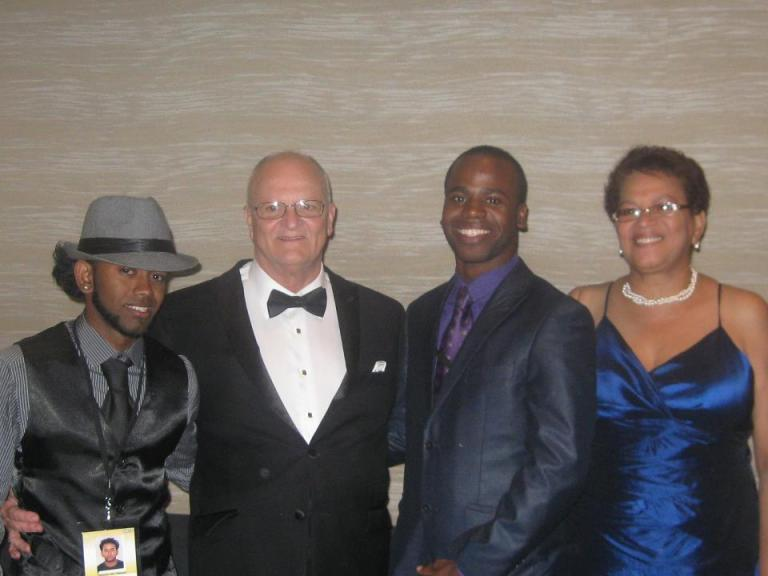Nicholas Bhagwandeen & Joseph Lewis: Scholarship Winners 2012 with Griff O'Neil,Founder and President of WCOPA & Princes Lee Keith, Founder and CEO of S.C.O.T.T and Local representative for WCOPA